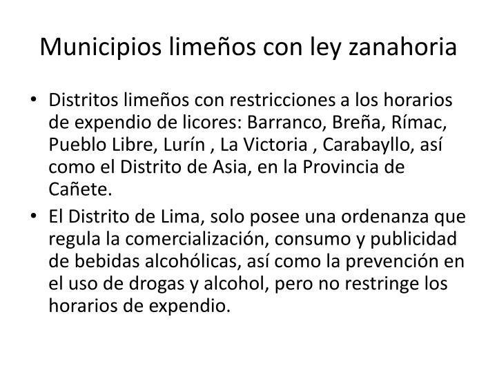 Municipios limeños con ley zanahoria