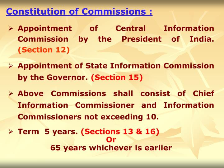 Constitution of Commissions :