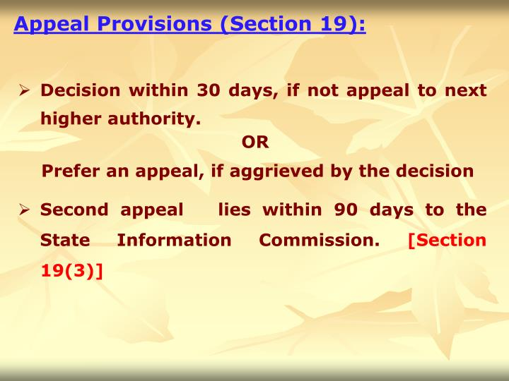 Appeal Provisions (Section 19):