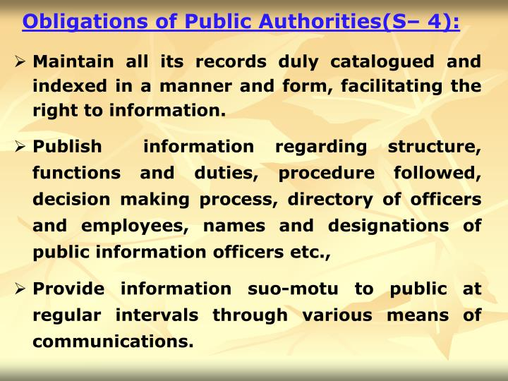 Obligations of Public Authorities(S– 4):
