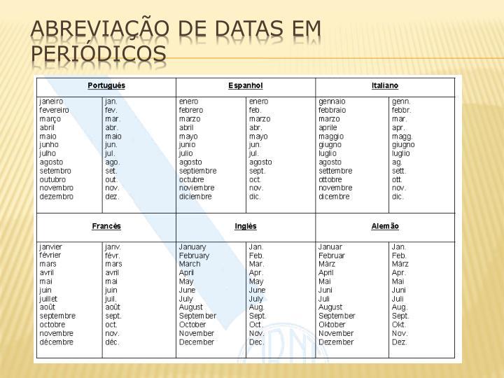 ABREVIAÇÃO DE DATAS EM PERIÓDICOS