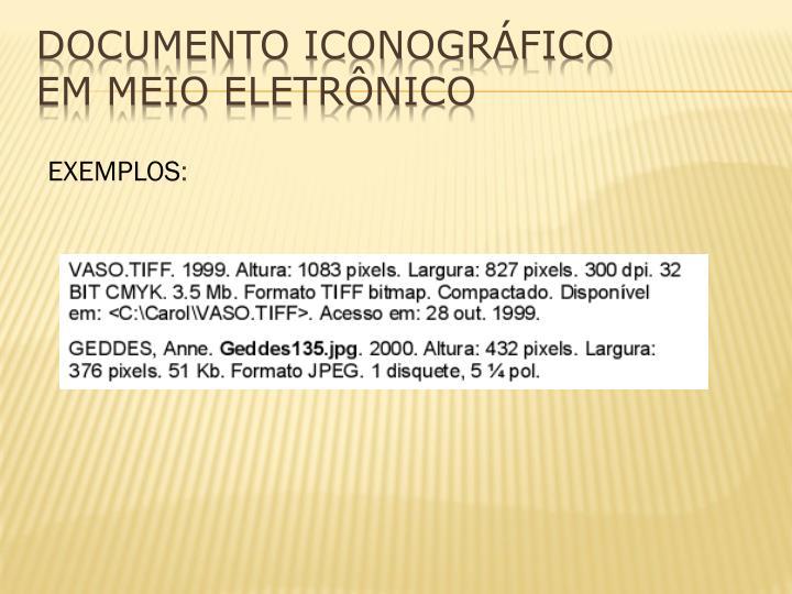 DOCUMENTO ICONOGRÁFICO EM MEIO ELETRÔNICO