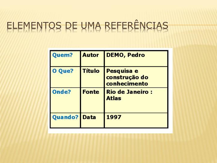 ELEMENTOS DE UMA REFERÊNCIAS