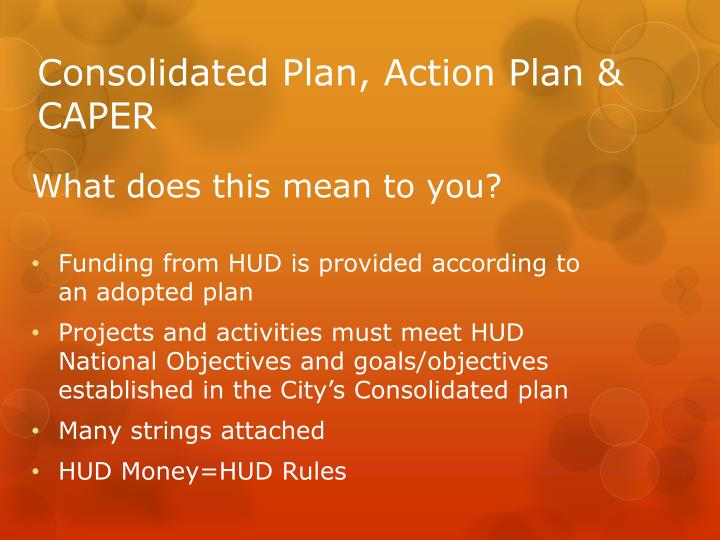 Consolidated Plan, Action Plan & CAPER