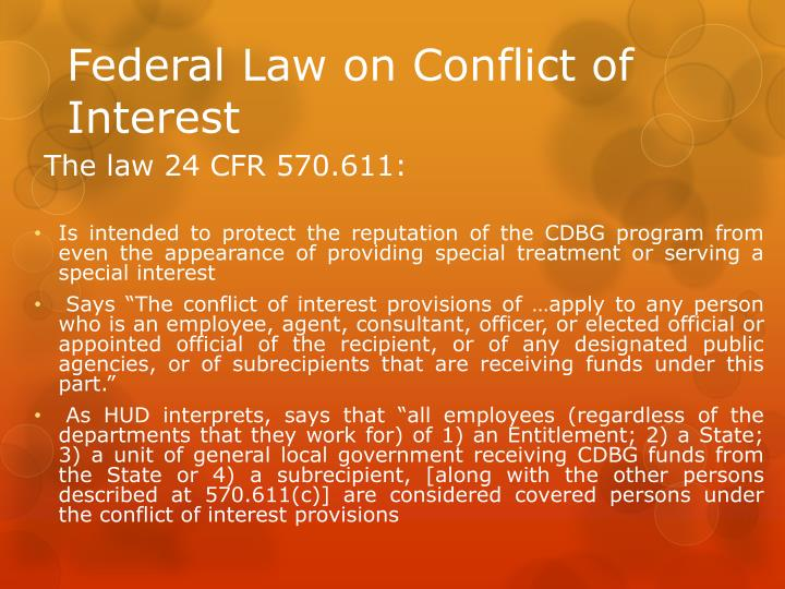 Federal Law on Conflict of Interest