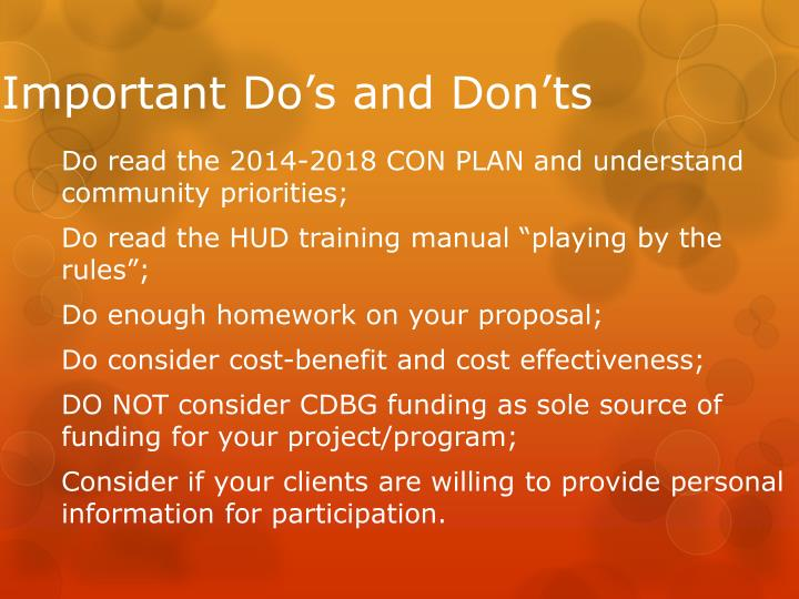 Important Do's and Don'ts