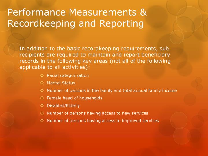 Performance Measurements & Recordkeeping and Reporting