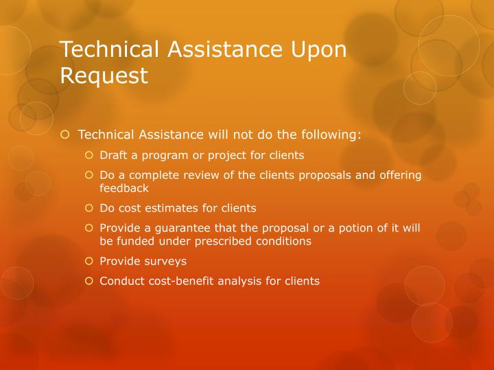 Technical Assistance Upon Request
