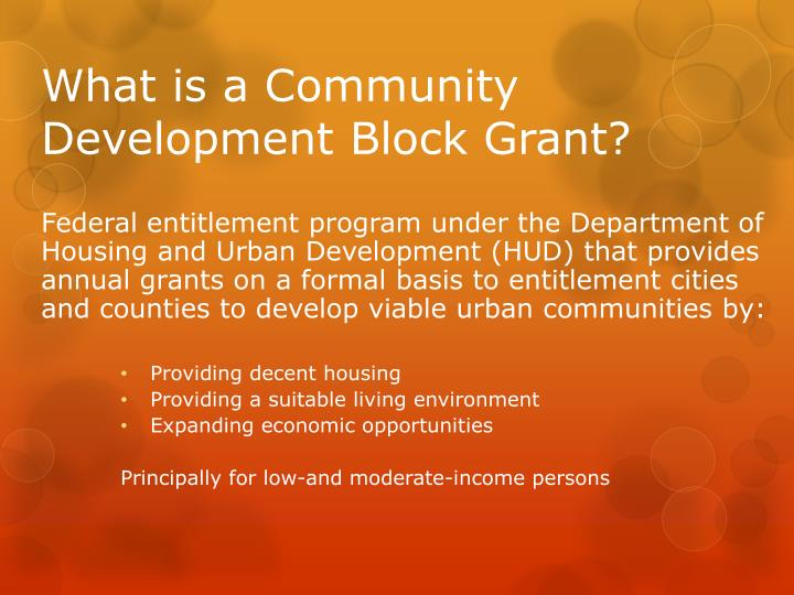 What is a community development block grant