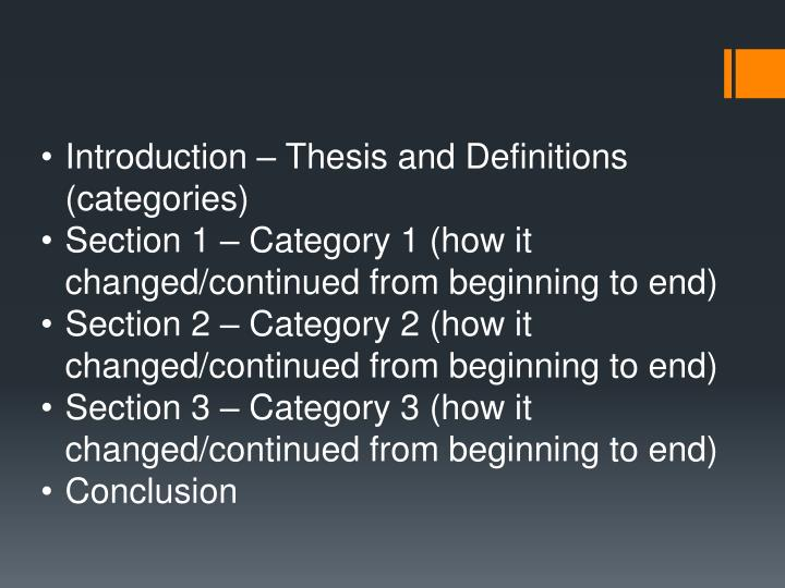 Introduction – Thesis and Definitions (categories)