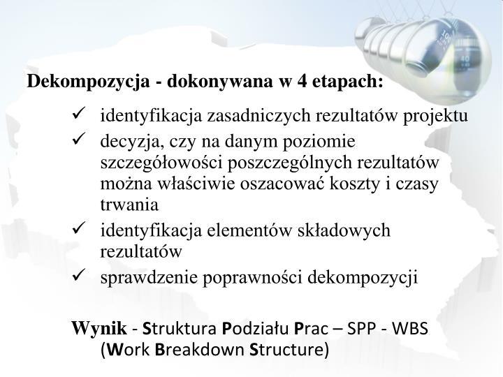 Dekompozycja - dokonywana w 4 etapach: