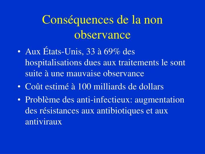 Conséquences de la non observance