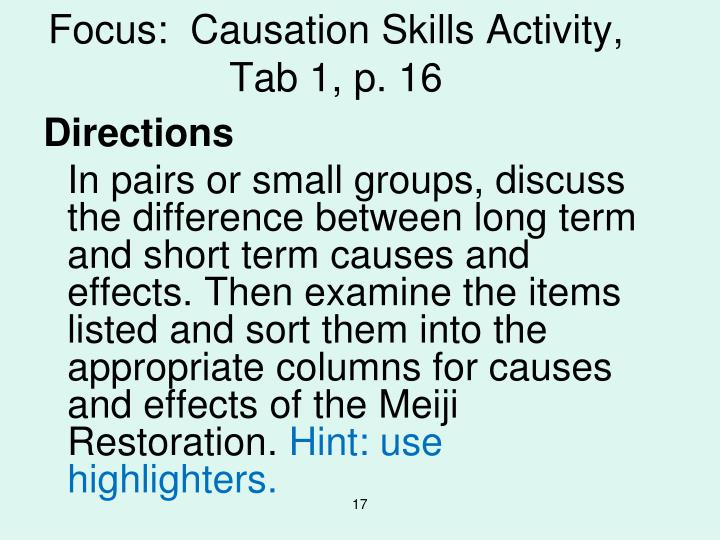Focus:  Causation Skills Activity,