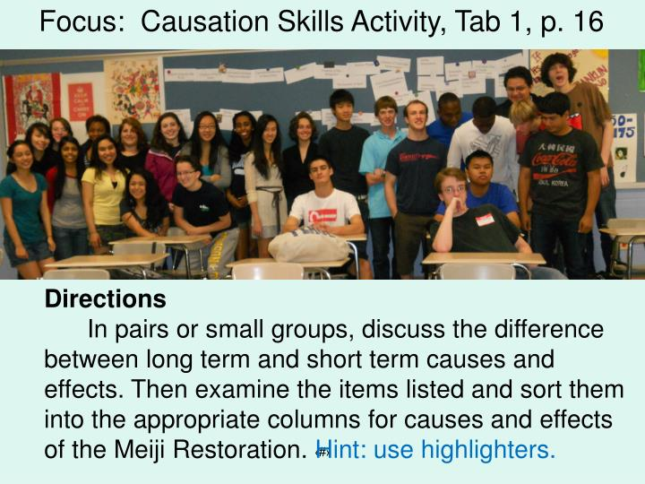 Focus:  Causation Skills Activity, Tab 1, p. 16