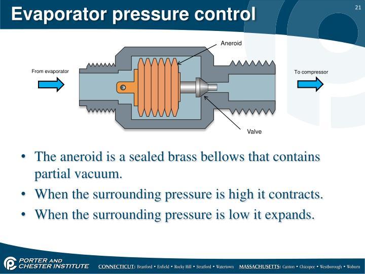 Evaporator pressure control