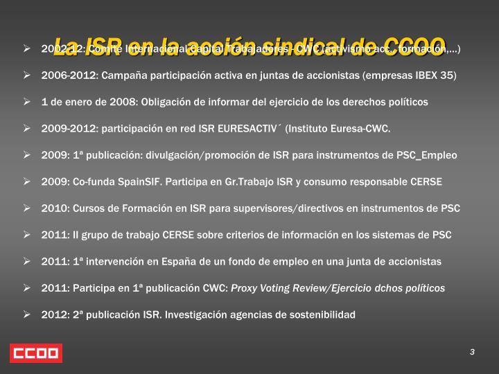 La ISR en la acción sindical de CCOO