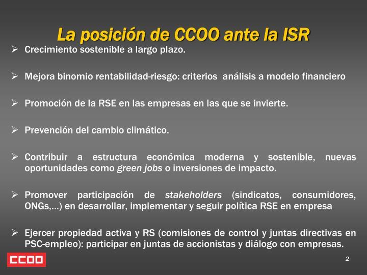 La posición de CCOO ante la ISR