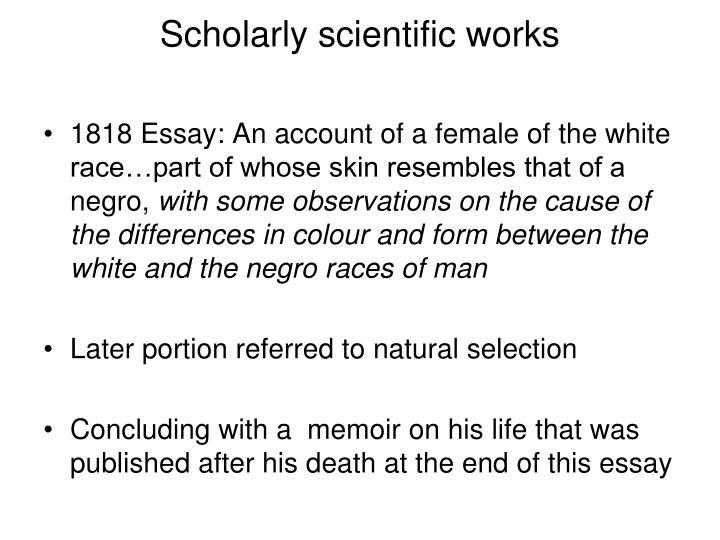 Scholarly scientific works