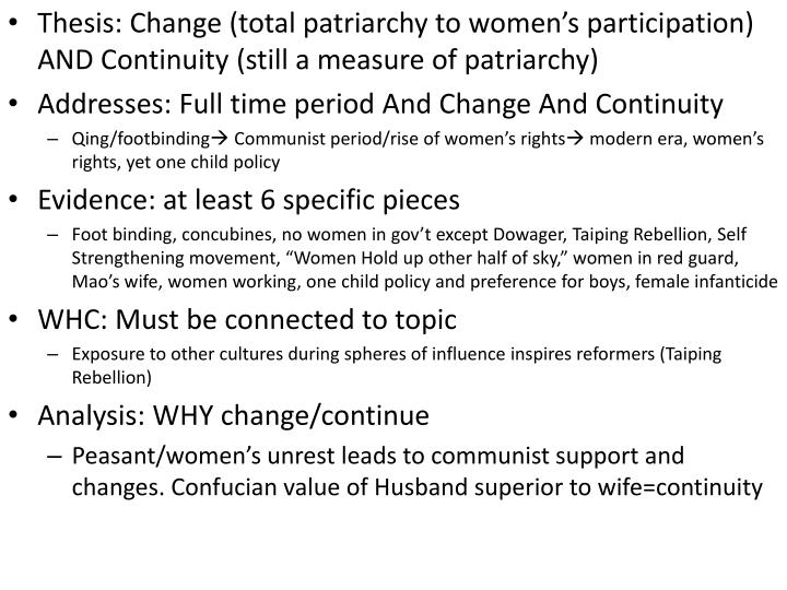 Thesis: Change (total patriarchy to women's participation) AND Continuity (still a measure of patr...