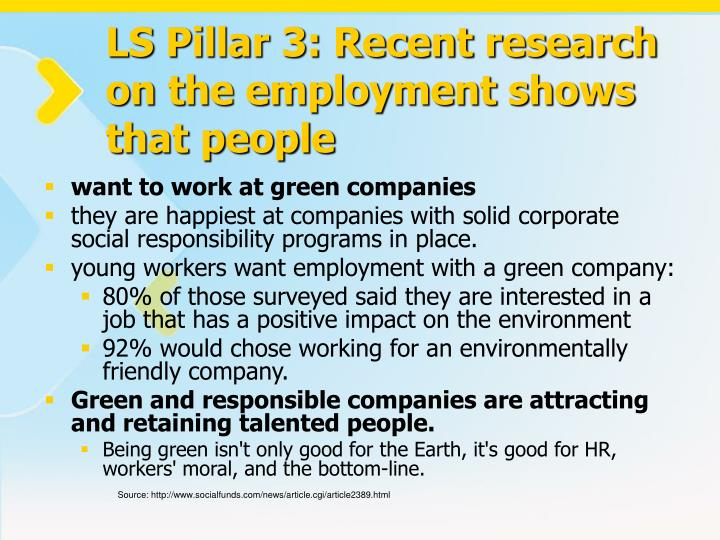 LS Pillar 3: Recent research on the employment shows that people