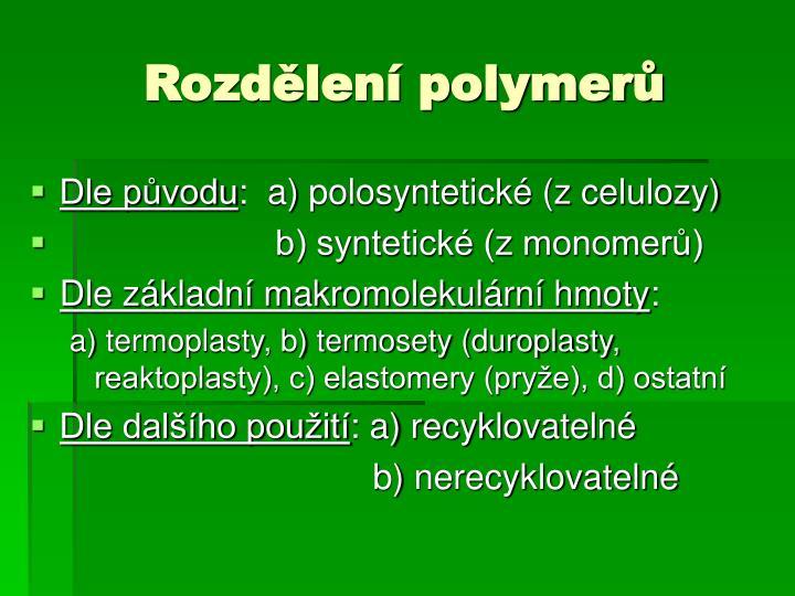 Rozdělení polymerů