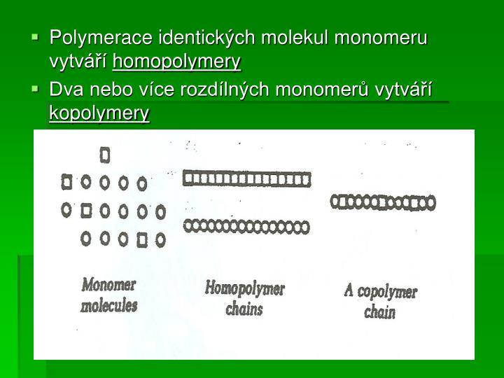 Polymerace identických molekul monomeru vytváří