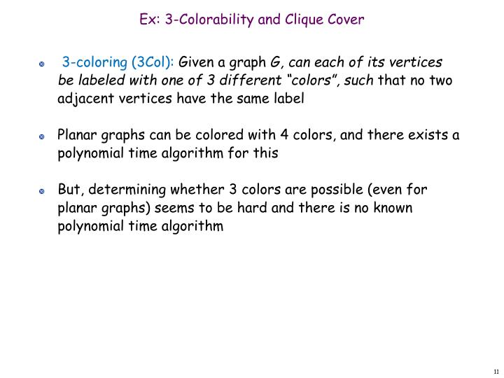 Ex: 3-Colorability and Clique Cover