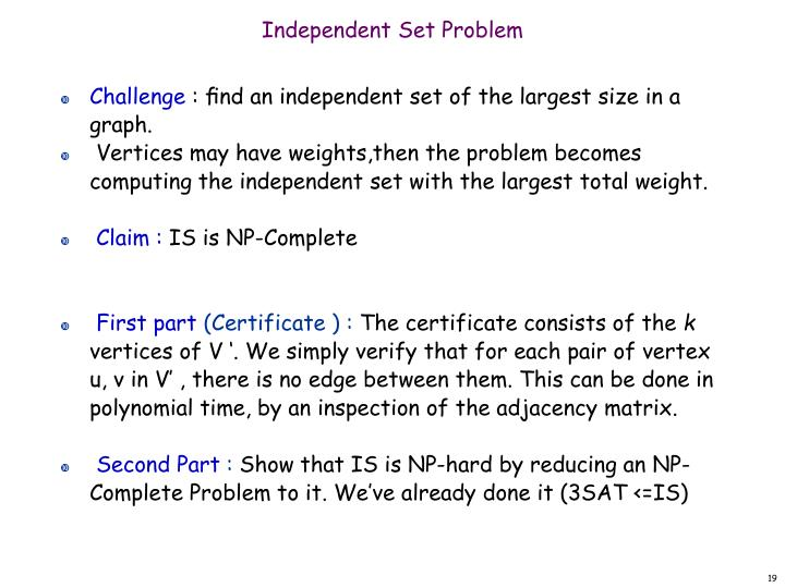 Independent Set Problem