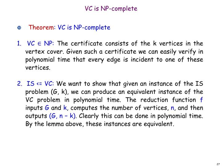 VC is NP-complete