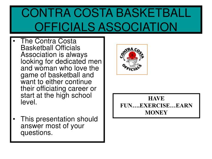 CONTRA COSTA BASKETBALL OFFICIALS ASSOCIATION