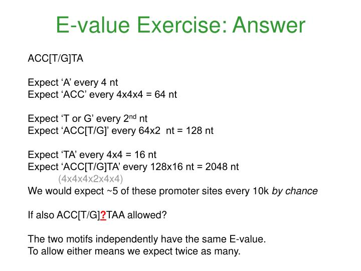 E-value Exercise: Answer