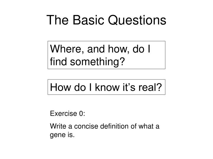 The Basic Questions
