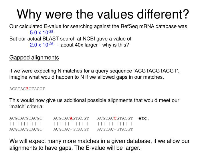 Why were the values different?