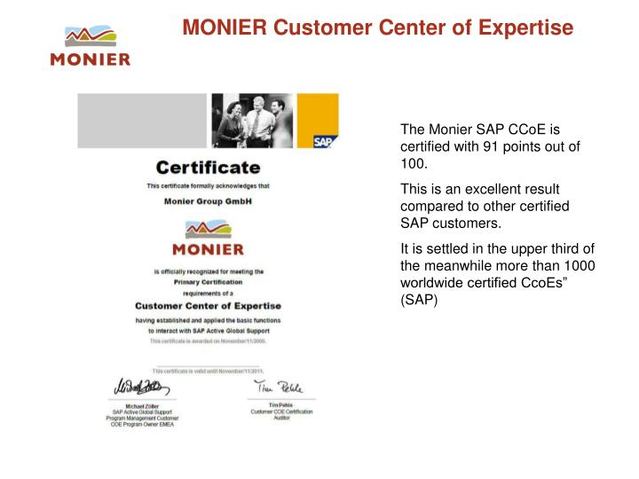 MONIER Customer Center of Expertise