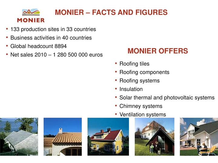 Monier facts and figures