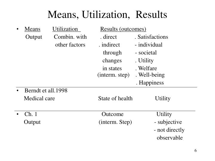 Means, Utilization,  Results