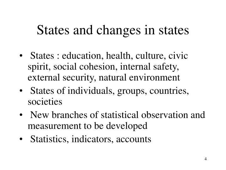States and changes in states