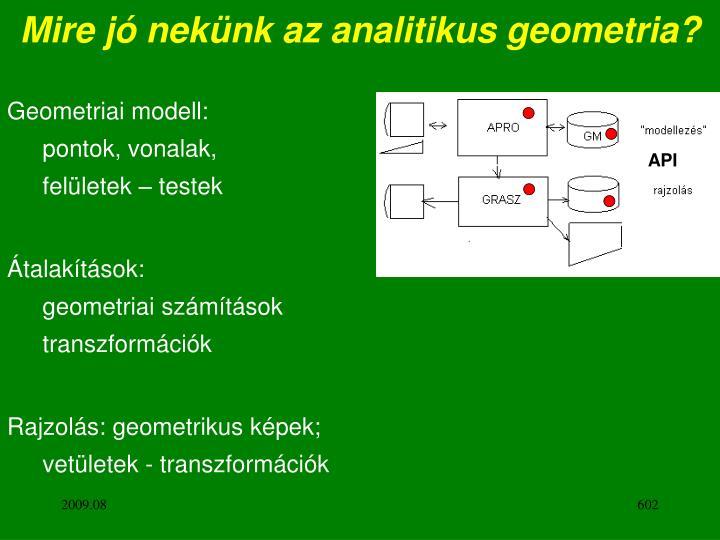 Mire jó nekünk az analitikus geometria?