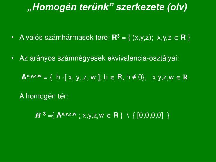 """""""Homogén terünk"""" szerkezete (olv)"""