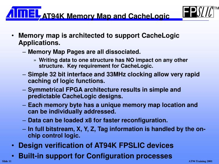 Memory map is architected to support CacheLogic Applications.