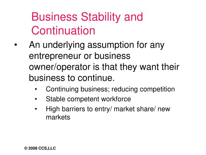 Business Stability and Continuation