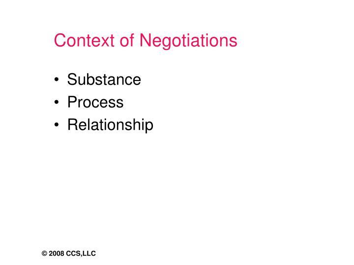 Context of Negotiations
