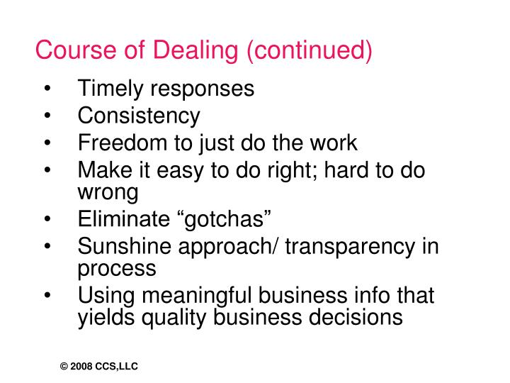 Course of Dealing (continued)