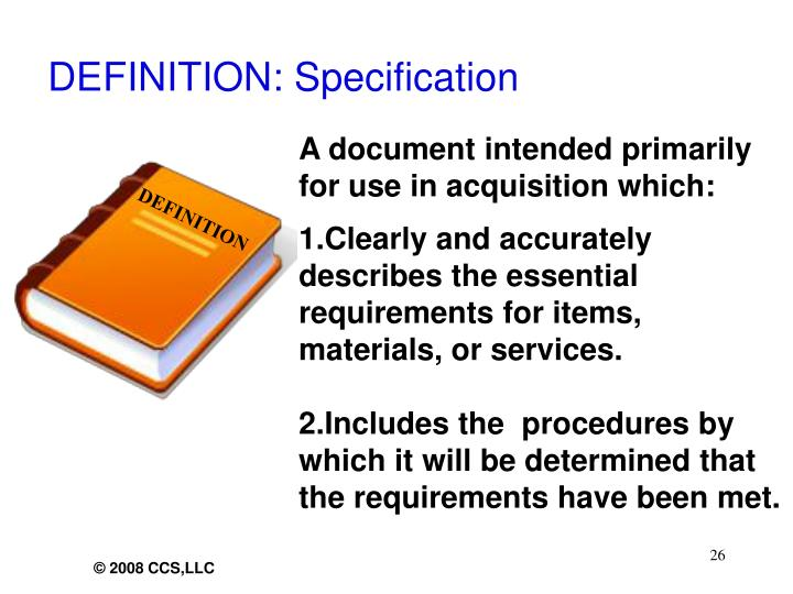 DEFINITION: Specification