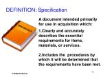 definition specification