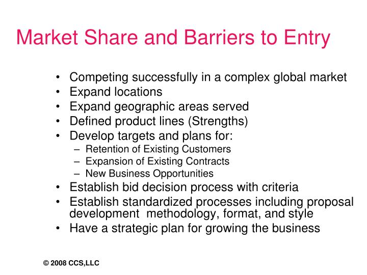 Market Share and Barriers to Entry
