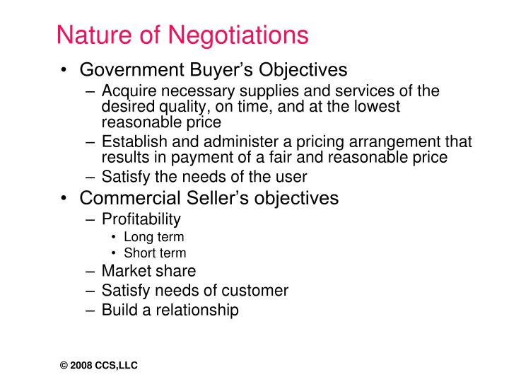 Nature of Negotiations