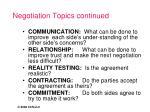 negotiation topics continued