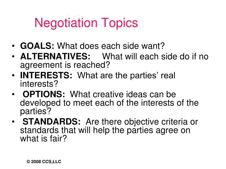 Negotiation Topics