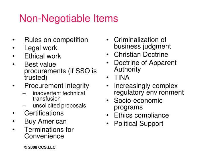 Non-Negotiable Items